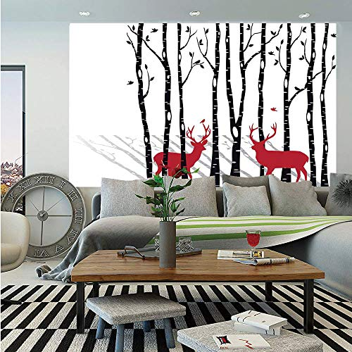 SoSung Antlers Decor Removable Wall Mural,Deer Tree Forest Backdrop with Red Holiday Theme Flying Birds Leaves Branch Reindeer,Self-Adhesive Large Wallpaper for Home Decor 66x96 - Faux Antler Birch