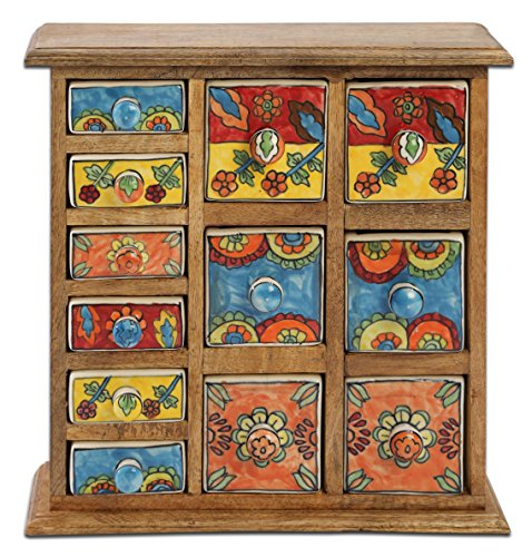 Curios 12 Drawer Light Brown Wood Apothecary (Hand Painted Six Drawer Chest)