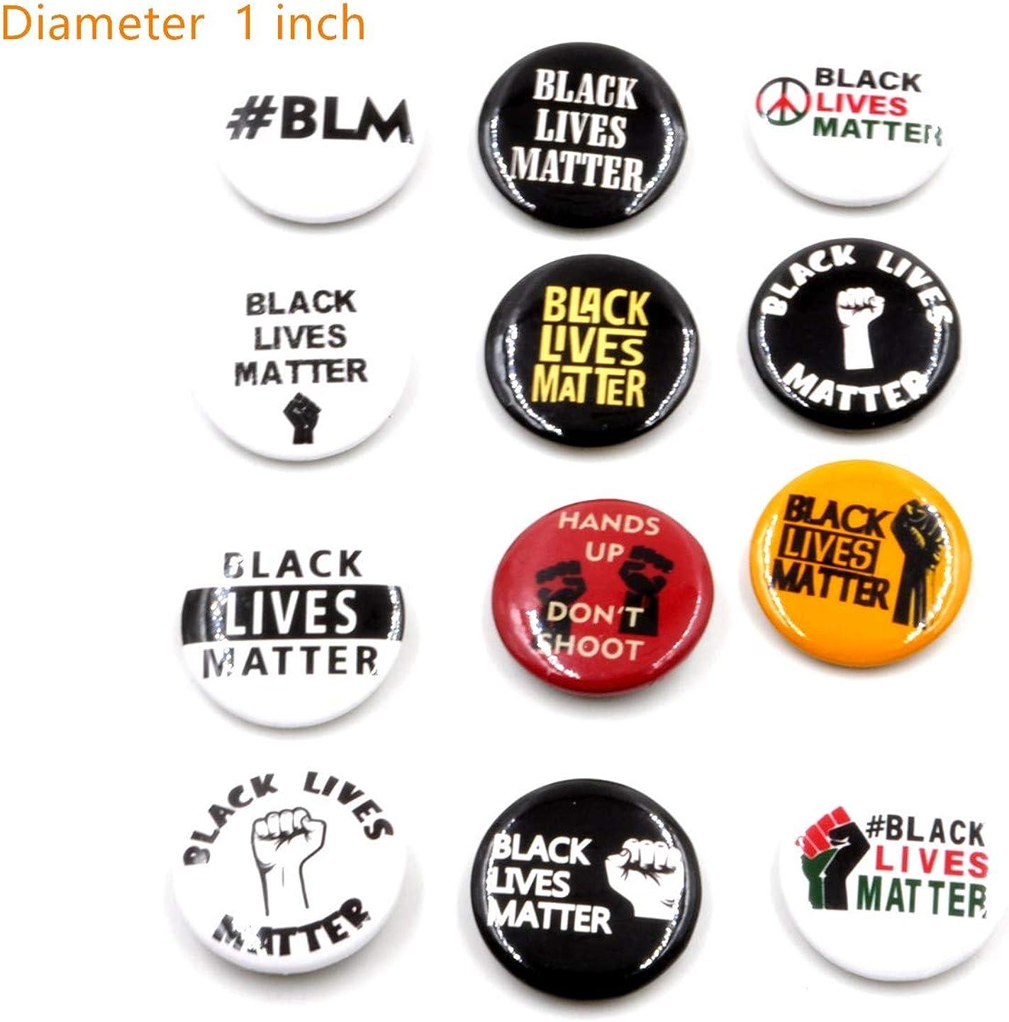 Kodycity Black Lives Matter Pin Brooch Pins for Women Men 1 Inch Button 12PC Set BLM Pins