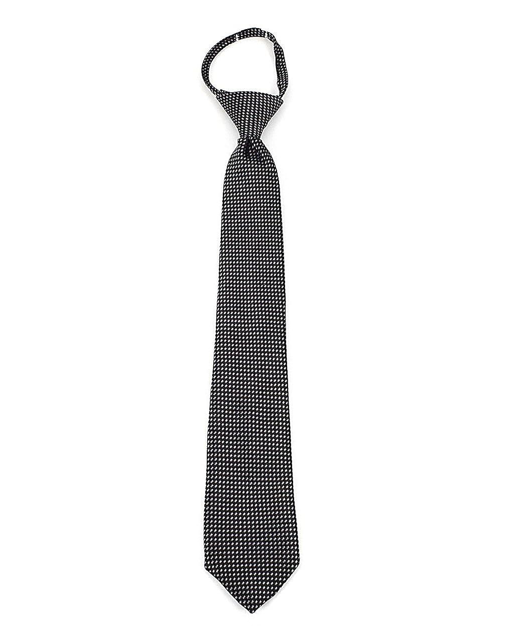 Umo Lorenzo Black /& White Dotted Boys Zipper Nectie