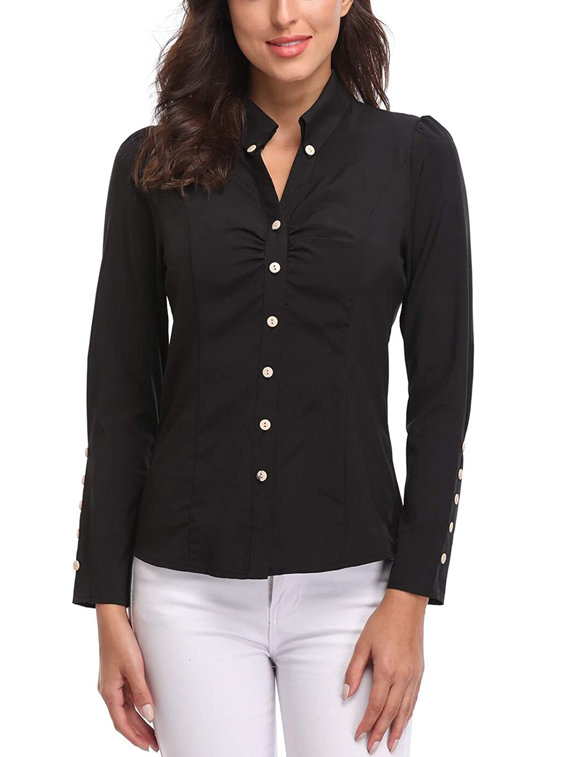 88f5a490c3650 MISS MOLY Women s Formal V Neck Long Sleeve Blouse Top  Amazon.co.uk   Clothing