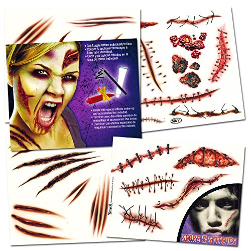Walking Costume Makeup Dead Zombie (Zombie Temporary Tattoos Party Supplies Pack (6 Sheets -- Over 60 Wound Tattoos)