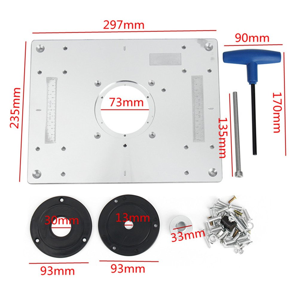 Aluminum router table insert plate for popular router trimmers aluminum router table insert plate for popular router trimmers models engrving machine diy woodworking benches amazon diy tools greentooth Gallery