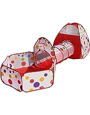 Truedays 3 Partes Carpa para Niños Tienda de Campaña Pop Up Casa de Juego Tiendas de Juegos para Niños con Túnel con Cuadro de Baloncesto Plegable Portátil