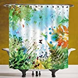 Durable Shower Curtain 3.0 [Dragonfly,Ferns Petals Flourishing Nature Fantasy Complex Mixed Digital Watercolors Image,Multicolor] Fabric Bathroom Decor Set with Hooks