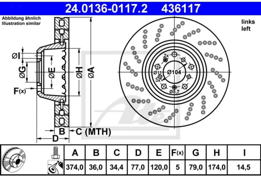 Bremsscheibe 1 Stück ATE 24.0136-0121.2