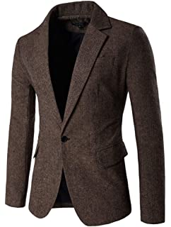 ROBO Blazer Veston Slim Fit Homme Uni Veste de Costume à Carreau Classique  Mode 6b76efffcfc