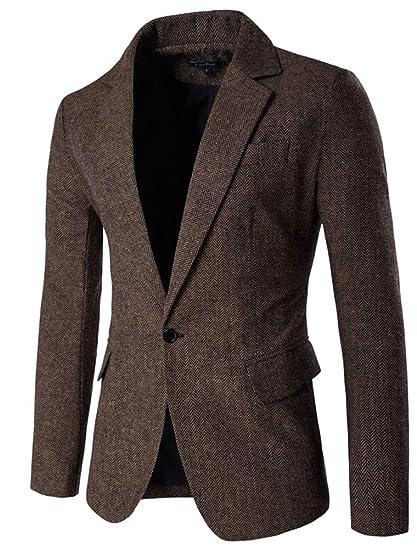KJHSDNN Blazer Veston Slim Fit Homme Uni Veste de Costume à Carreau Classique Mode