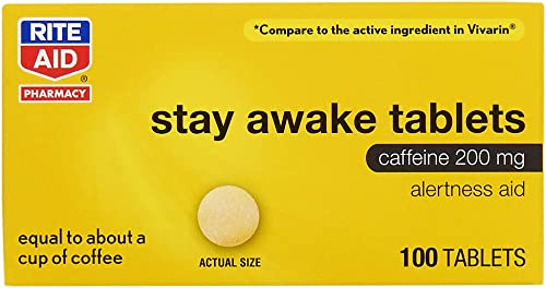 Rite Aid Stay Awake Caffeine, 200 mg – 100 Tablets Caffeine Pills