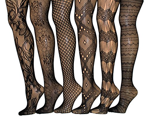 Frenchic Fishnet Women's Lace Stockings Tights Sexy Pantyhose Extended Sizes (Pack of 6) ... (1X - 2X, 1010) -