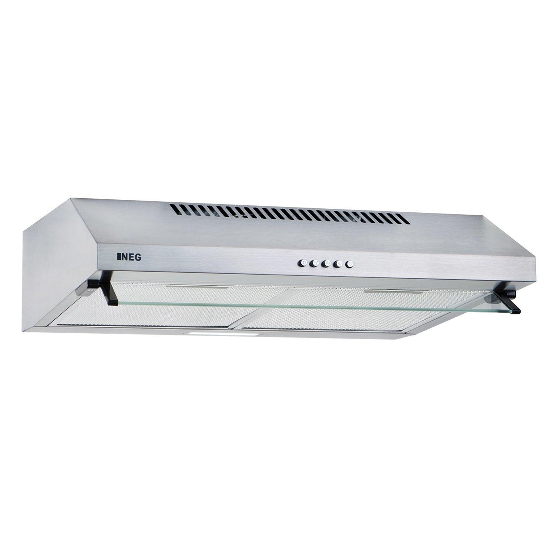 NEG Dunstabzugshaube NEG15-ATS (silber) Edelstahl-Unterbau-Haube (Abluft/Umluft) und LED-Beleuchtung (60cm) Unterschrank- oder Wandanschluss [Energieklasse C]
