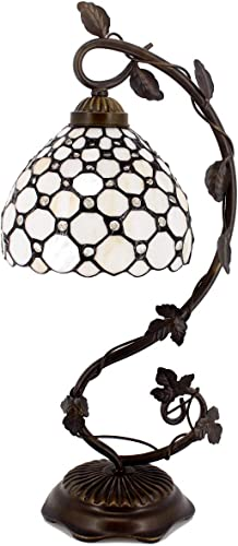 Tiffany Lamp Cream Stained Glass and Crystal Pearl Bead Style Table Lamps Wide 8 Inch Height 21 Inch