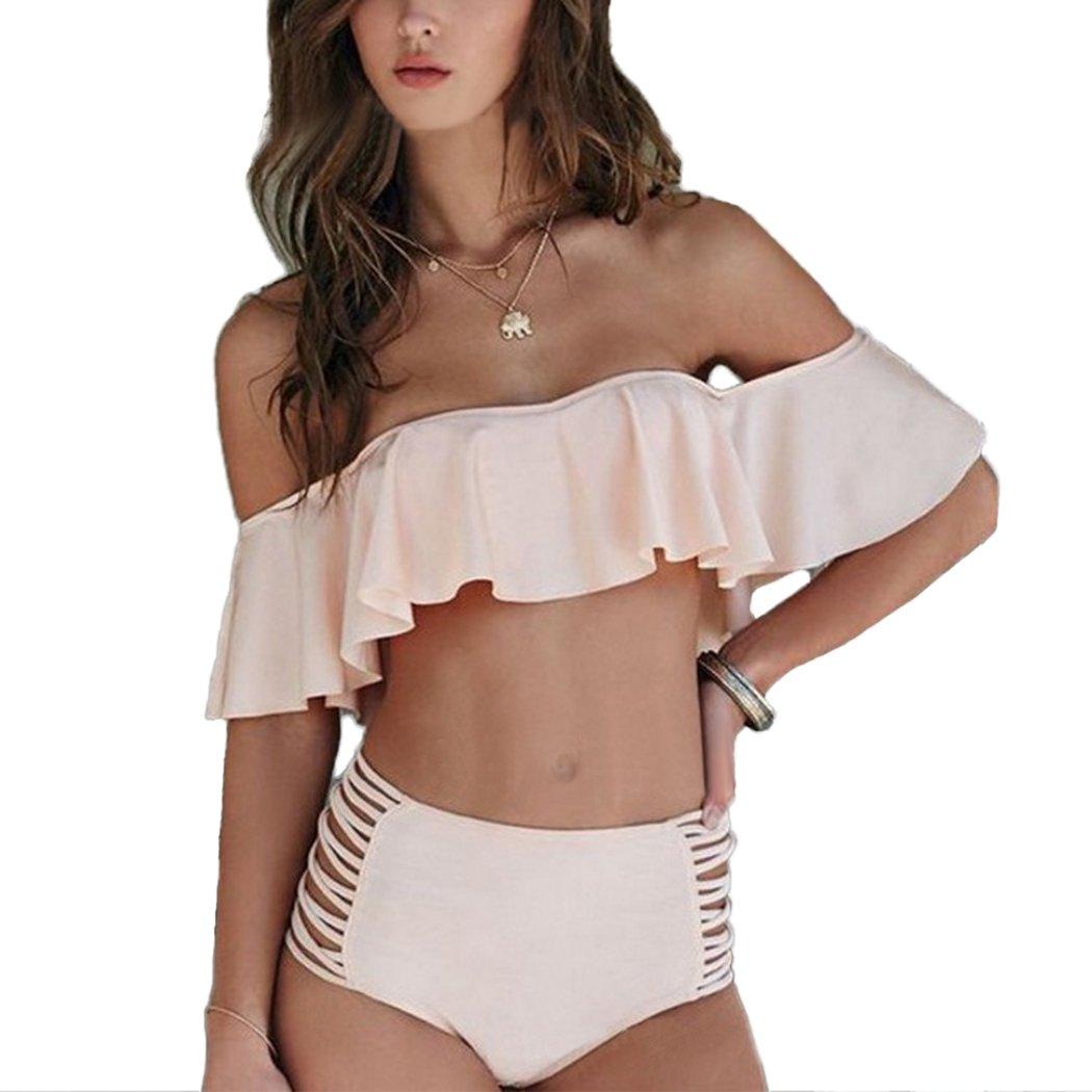 Summer Mae Conjunto de Bikini sin Hombro para Mujer con Volantes