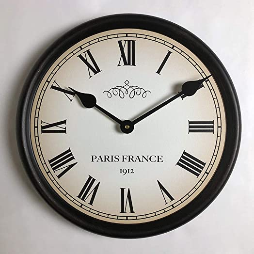 1912 Paris Wall Clock, Available in 8 Sizes, Most Sizes Ship 2-3 Days, Whisper Quiet.