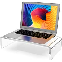 Clear Computer Stand 15 inch, Acrylic Computer Monitor Riser with Sturdy, Hold up to 50lbs Desktop Monitor Stand Heavy…