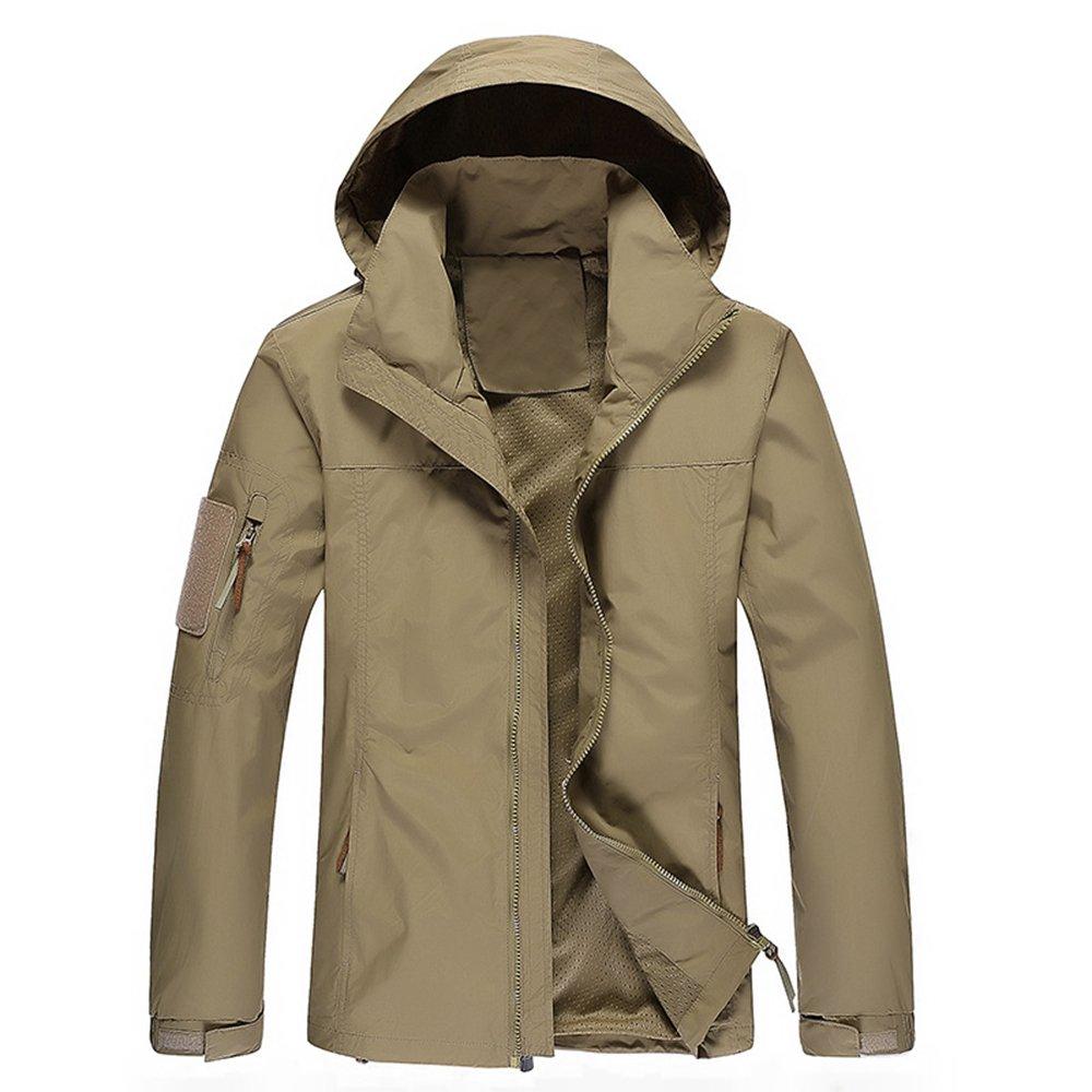 WULFUL Men's Waterproof Windproof Lightweight Windbreaker Outdoor Softshell Causal Jacket with Hood
