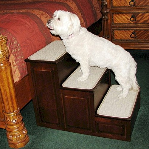 Crown Pet Products Designer Carpeted High Pet Steps With Storage for Small and Large Dogs and Cats, Espresso