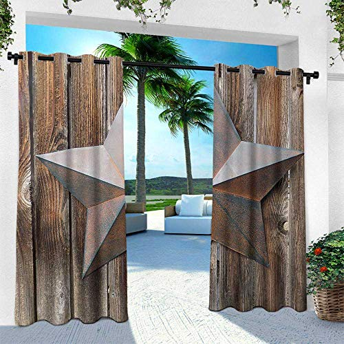 (Hengshu Primitive Country, Outdoor- Free Standing Outdoor Privacy Curtain,Antique Rusty Star Figure on The Weathered Wooden Planks Vintage Retro Image, W108 x L108 Inch, Brown)