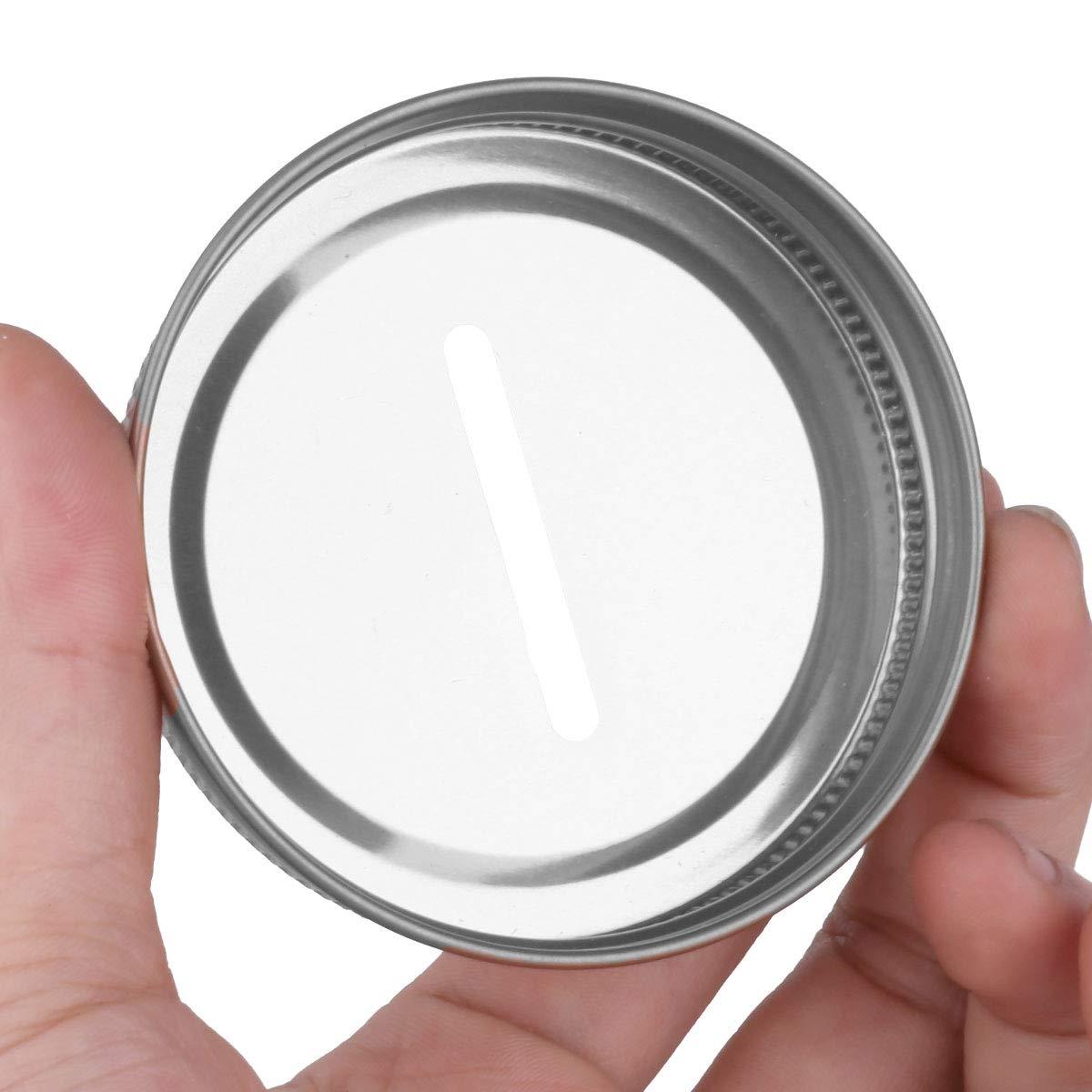 TiaoBug 8 Pieces Metal Coin Slot Bank Lids for Mason Jar Ball Canning Jars Silver One Size by TiaoBug (Image #5)