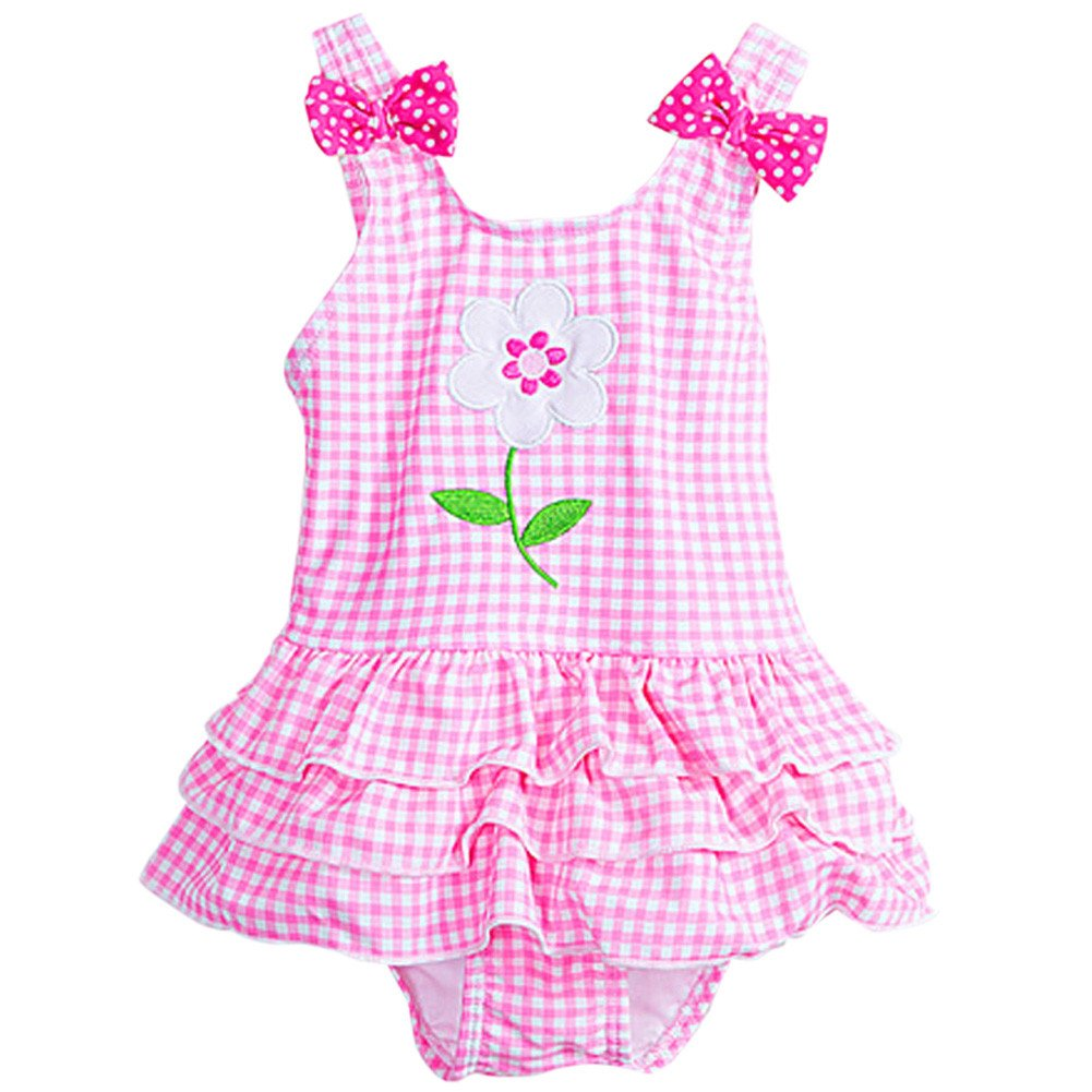 Baby Girls Flower Swimsuit Toddler Infant Bowknot Toddler Tankini Swimdress