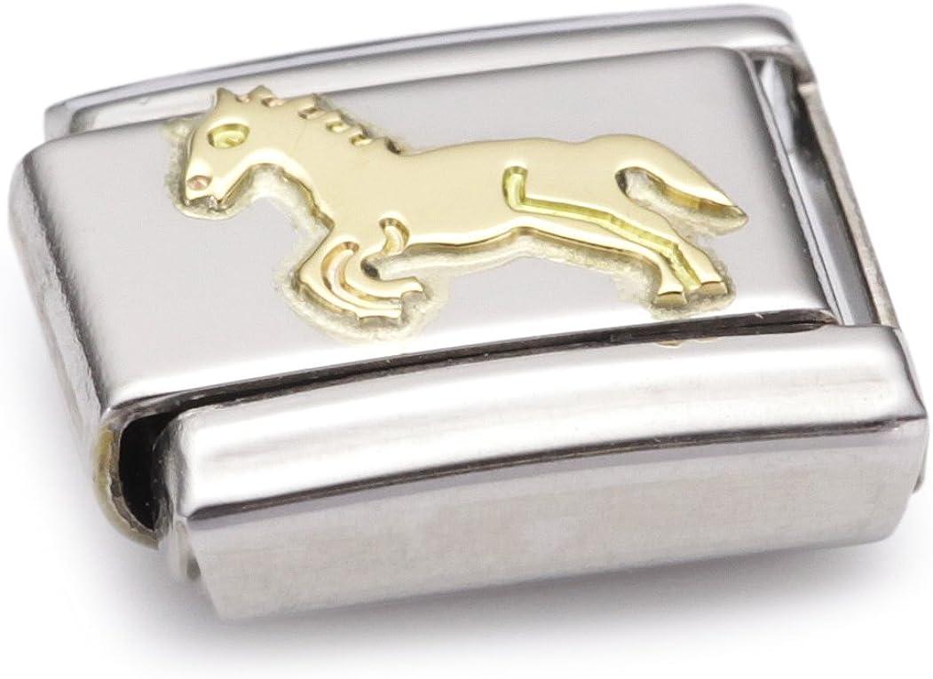 030112 Nomination Maillon pour bracelet composable Mixte Acier inoxydable et Or jaune 18 cts