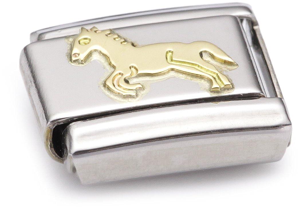 Nomination 030112 - Maillon pour bracelet composable Mixte - Acier inoxydable et Or jaune 18 cts