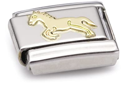 Nomination Composable Classic Land Animals Horse Stainless Steel and 18K Gold ppLAKs