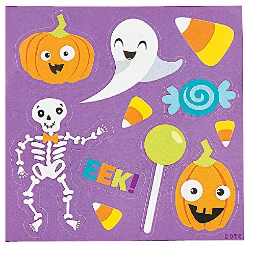 (Halloween Themed Sticker Sheets Party Favor - 50 pack - featuring Ghost, Jack O Lantern Pumpkin, Skeleton, Candy Corn and)
