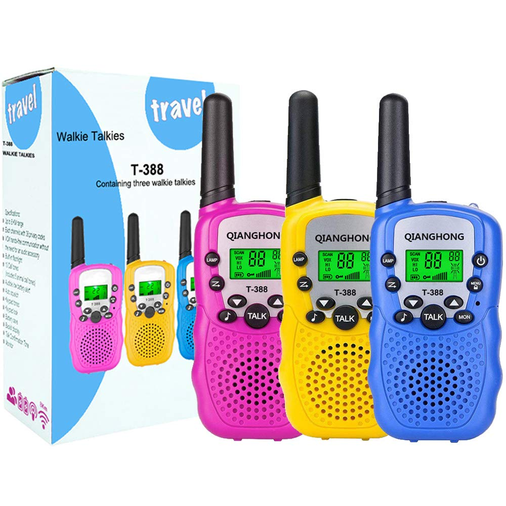 Qianghong T3 Kids Walkie Talkies 3-12 Year Old Children's Outdoor Toys Mini Two Way Radios UHF 462-467 MHz Frequency 22 Channels (Pink&Yellow&Blue) by Qianghong (Image #1)