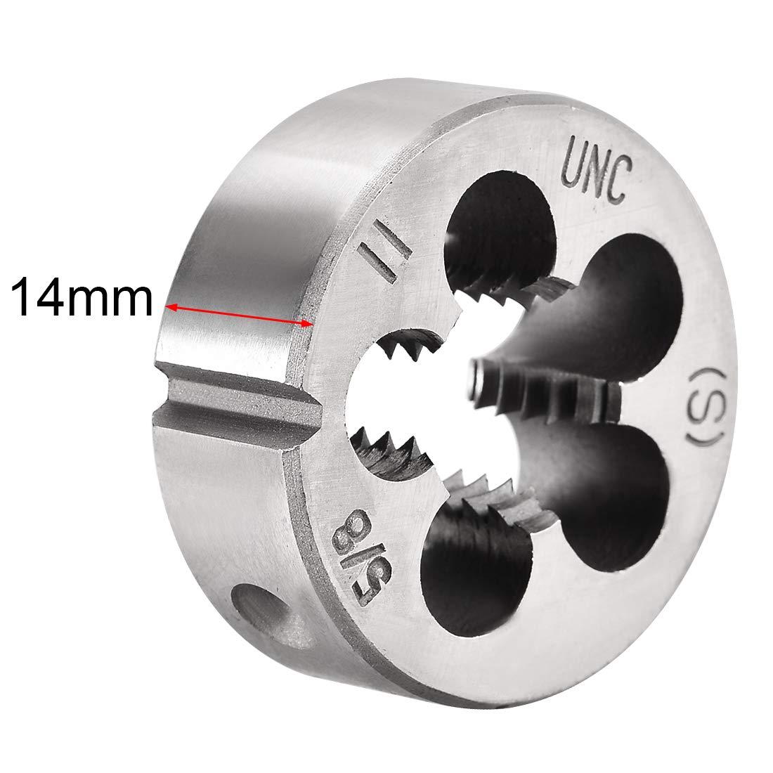 HSS uxcell 2 Pcs 5//8-11 UNC Right Hand Round Die Machine Thread Die High Speed Steel Screw Die Tool Threading Die