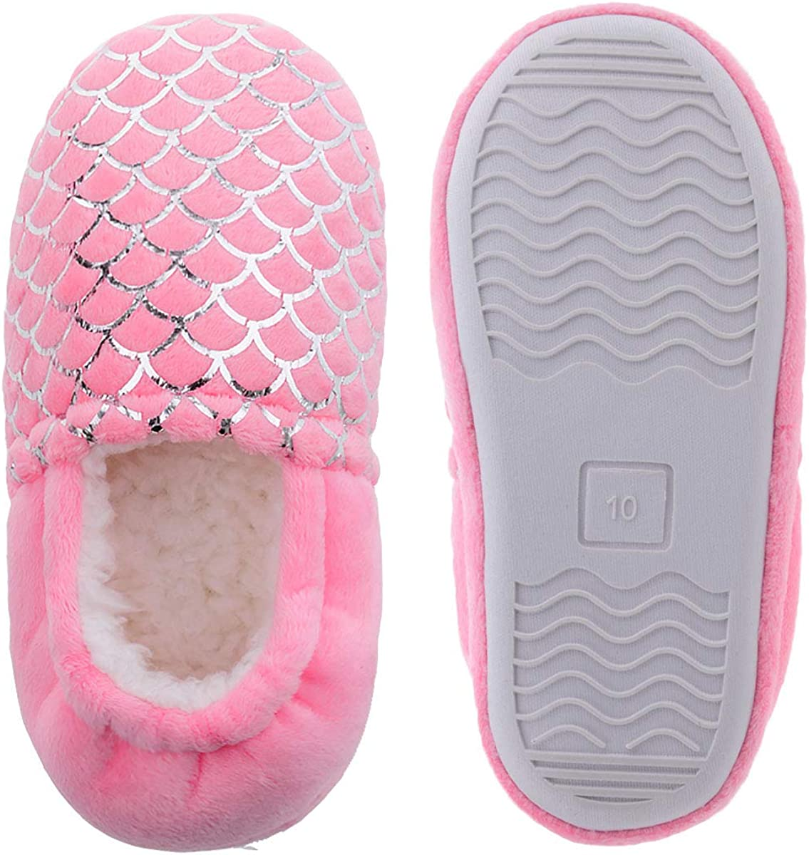 MIXIN Little Kids Girls Plush Warm House Slippers