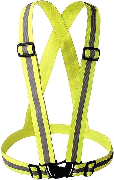 Reflective Vest Men Women Elastic Strap High Visibility Waistcoat Sportswear