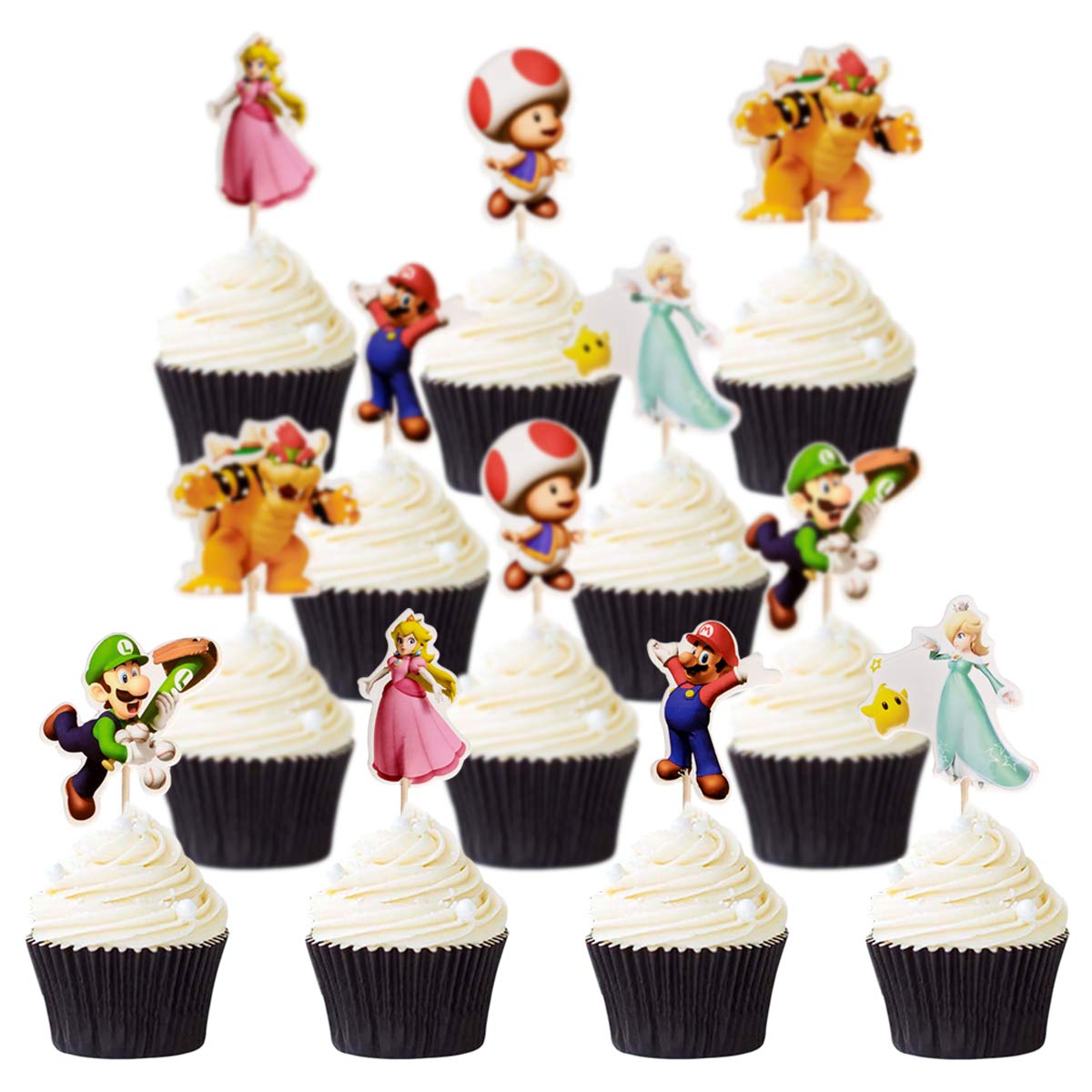 Cake topper for children's birthday party, cake decoration for baby shower(Super Mario 48pcs)