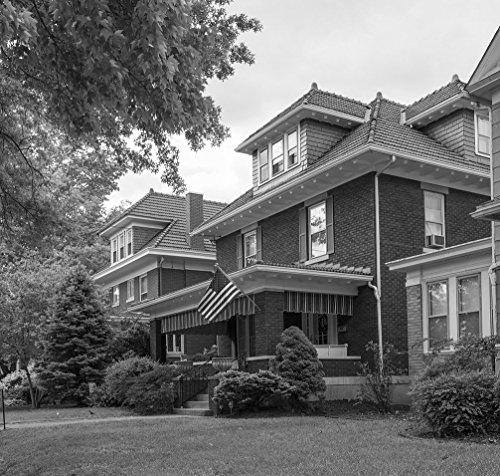 Foursquare House - 18 x 24 B&W Photo Large, Classic American Foursquare Houses on 21st Street in Parkersburg, West Virginia 2015 Highsmith 35a