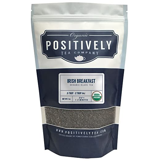 Organic Irish Breakfast Tea, Loose Leaf Black Tea, Bulk 1 Pound Bag, Positively Tea LLC. (1 Lb.)