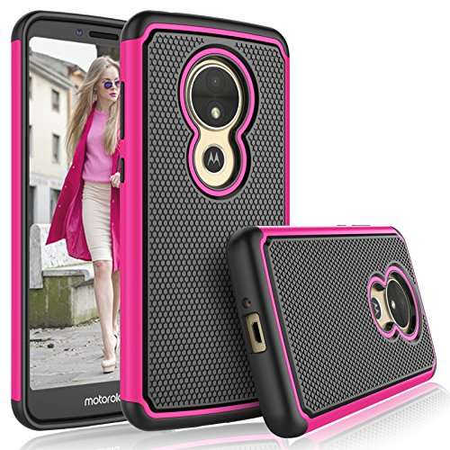 Tekcoo for Moto E5 Play Case/Motorola Moto E5 Cruise Case for Girls, [Tmajor] Shock Absorbing [Hot Pink] Rubber Silicone Plastic Scratch Resistant Bumper Grip Cute Sturdy Hard Cases Cover