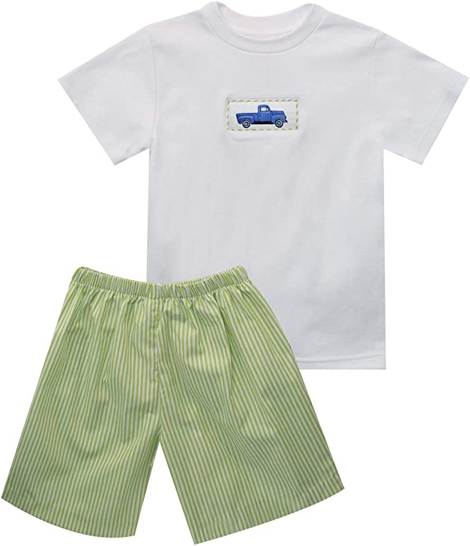 Petit Ami Outfit Boys 4T Shirt Top Green Pants 2PC Great for Monogramming NEW