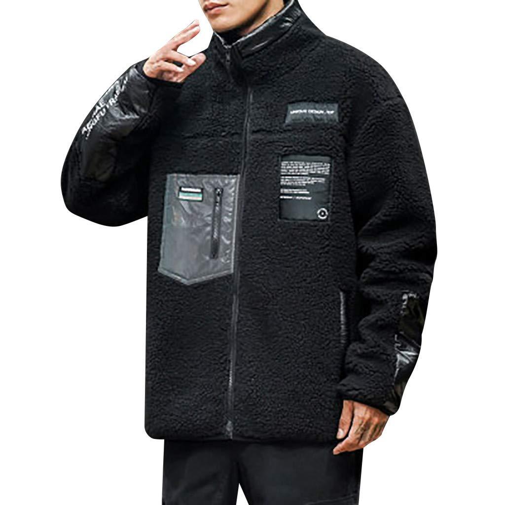 wuliLINL Men's Coat Lamb Faux Fur Jacket Loose Lightweight Windbreaker Solid Color Outwear(Black,L) by wuliLINL