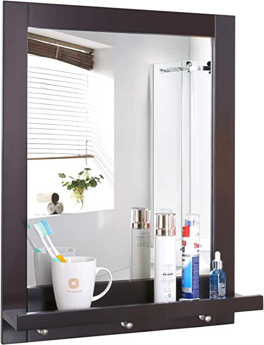 Amazon Com Homfa Bathroom Wall Mirror Vanity Mirror Makeup Mirror Framed Mirror With Shelf And 3 Hanging Hooks Multipurpose For Home Dark Brown Furniture Decor