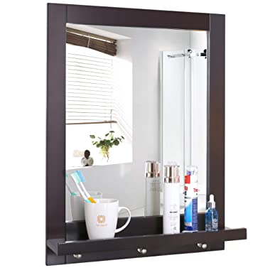 Homfa Bathroom Wall Mirror Vanity Mirror Makeup Mirror Framed Mirror with Shelf and 3 Hanging Hooks Multipurpose for Home, Dark Brown