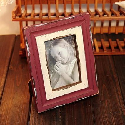 DHWJ Marco de Fotos Madera Vintage, Portaretrato Minimalista Creativa-A 10.2x15.3cm