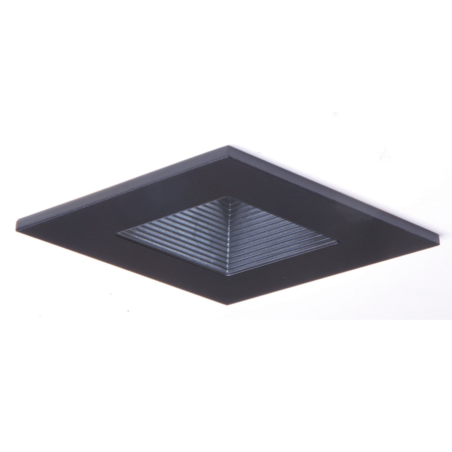HALO Recessed 3012BKBB 3-Inch 15-Degree Trim Lensed Square Shower Light with Baffle, Black