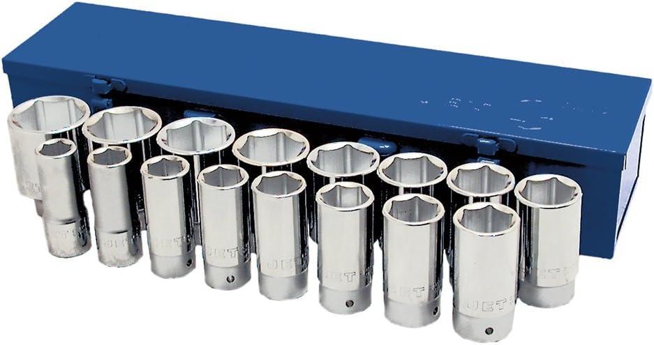 6 Point Deep Jet 17-Piece 3//4-inch Drive SAE 601407 Chrome Socket Set