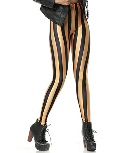 07e3df6d9be25 Women Fashion Black and Orange Vertical Striped Leggings at Amazon ...