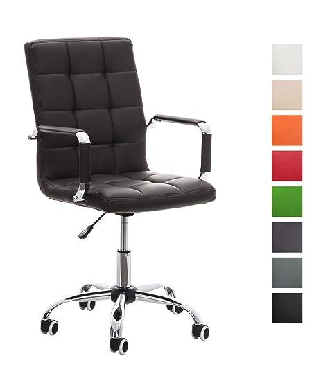 CLP Silla de Oficina Deli V2 en Poilipiel | Silla Ejecutiva Giratoria & Regulable en Altura I Silla de Escritorio con Ruedas I Color: Marrón