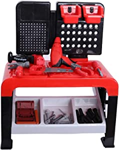 Tuscom 46 Piece Kids Play Toy Tool Workbench with Realistic Tools and Electric Drill Pretend Play Construction Workshop Bench Table Set Educational Play Birthday Gifts Toolbench Building Toys