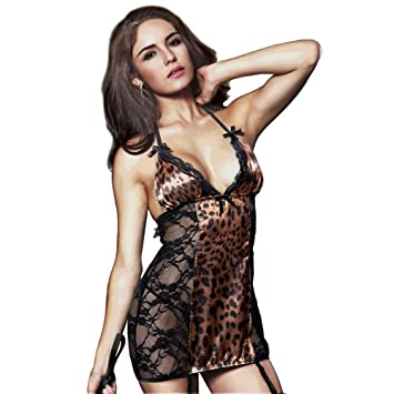 141006c94721 Image Unavailable. Image not available for. Color: Women Fashion Sexy  Leopard Print Lingerie ...