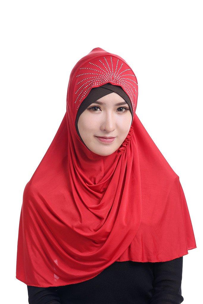 GladThink Womens Muslim Ice Silk Big size Hijab Red