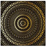 Gold Mandala Bandana by Lunarable, Ethnic Ornate Motif Symbol of Universe in Balance Oriental Flora Design, Printed Unisex Bandana Head and Neck Tie Scarf Headband, 22 X 22 Inches, Gold Black Yellow