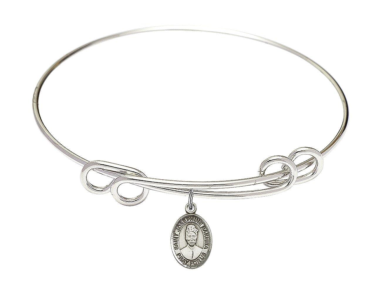 Josephine Bakhita in Sterling Silver Bonyak Jewelry Round Double Loop Bangle Bracelet w//St